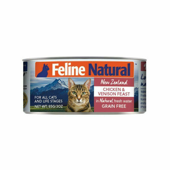 Feline Natural Chicken and Venison Feast Canned Cat Food 3 oz front view