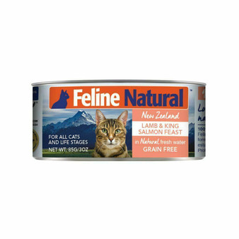 Feline Natural Lamb and Salmon Feast Canned Cat Food 3 oz front view