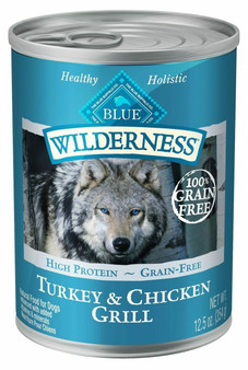 Blue Buffalo Wilderness High Protein Grain Free, Natural Adult Wet Dog Food, Turkey & Chicken Grill 12.5-oz can