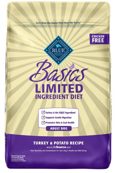 Blue Buffalo Basics Limited Ingredient Diet, Natural Adult Dry Dog Food, Turkey & Potato 24-lb