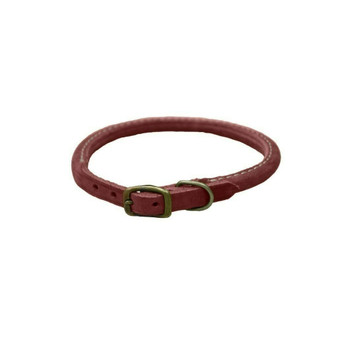 "Circle T® Rustic Leather Round Dog Collar, Brick Red, 3/8"" x 10"""