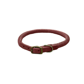 "Circle T® Rustic Leather Round Dog Collar, Brick Red, 3/8"" x 12"""