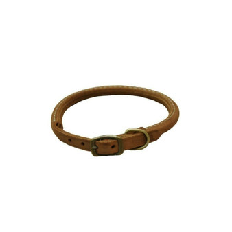 "Circle T® Rustic Leather Round Dog Collar, Chocolate, 3/8"" x 14"""