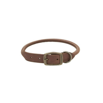 "Circle T® Rustic Leather Round Dog Collar, Chocolate, 5/8"" x 16"""
