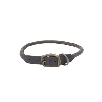 "Circle T® Rustic Leather Round Dog Collar, Slate Grey, 3/4"" x 18"""