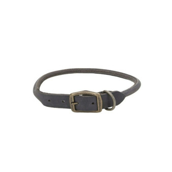 "Circle T® Rustic Leather Round Dog Collar, Slate Grey, 3/4"" x 20"""