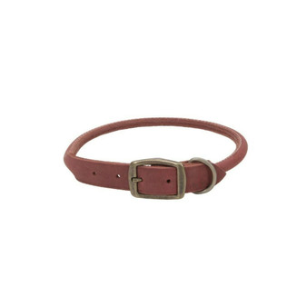 "Circle T® Rustic Leather Round Dog Collar, Brick Red, 3/4"" x 20"""