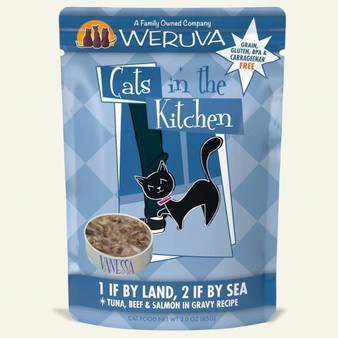 Weruva Cats in the Kitchen, 1 if By Land, 2 if By Sea with Tuna, Beef & Salmon in Gravy Cat Food, 3oz Pouch