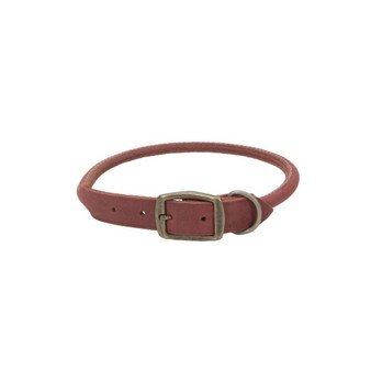 "Circle T® Rustic Leather Round Dog Collar, Brick Red, 1"" x 24"""