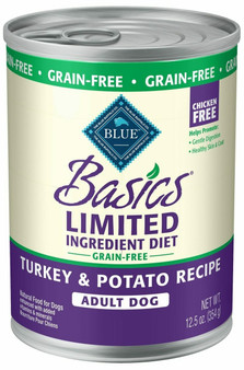 Blue Buffalo Basics Limited Ingredient Diet, Grain Free Natural Adult Wet Dog Food, Turkey 12.5-oz cans