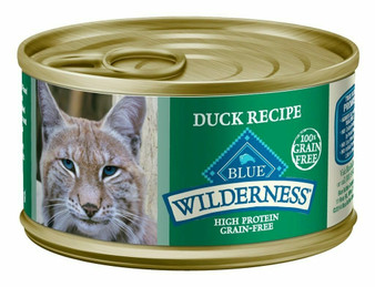 Blue Buffalo Wilderness High Protein Grain Free, Natural Adult Pate Wet Cat Food, Duck 3-oz cans
