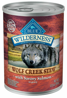 Blue Buffalo Wilderness Wolf Creek Stew High Protein Grain Free, Natural Wet Dog Food, Savory Salmon Stew in gravy 12.5-oz can