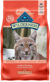 Blue Buffalo Wilderness High Protein Grain Free, Natural Adult Indoor Hairball & Weight Control Dry Cat Food, Chicken 5-lb