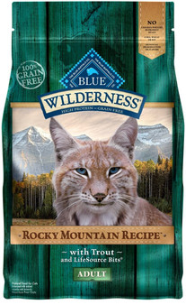 Blue Buffalo Wilderness Rocky Mountain Recipe High Protein Grain Free, Natural Adult Dry Cat Food, Trout 4-lb