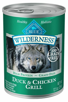 Blue Buffalo Wilderness High Protein Grain Free, Natural Adult Wet Dog Food, Duck & Chicken Grill 12.5-oz can