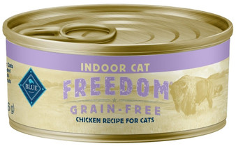 Blue Buffalo Freedom Grain Free Natural Adult Pate Wet Cat Food, Indoor Chicken 5.5-oz cans