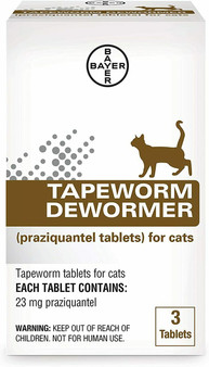 Tapeworm Dewormer Tablets for Cats, 3 pack