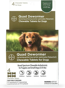 Quad Dewormer Tablets for Dogs 2-25lbs, 4 pack