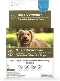 Quad Dewormer Tablets for Dogs 26-60lbs