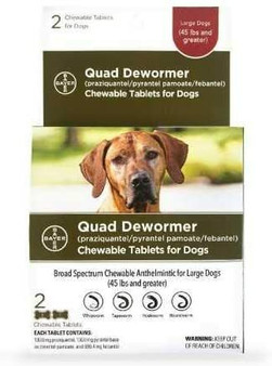Quad Dewormer Tablets for Dogs Over 45lbs, 2 pack