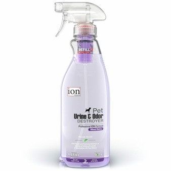 Our Pet Urine & Odor Destroyer in a 32 oz bottle with a Refill Pod.