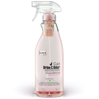 Our Cat Urine & Odor Destroyer in a 32 oz bottle with a Refill Pod.