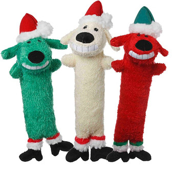 This 12 inch Plush Loofa Santa comes in 3 different colors and squeaks