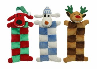 This 12 inch Loofa Squeaker Mat comes in 3 assorted characters: Reindeer, Santa, and Snowman.  It has 13 squeakers.