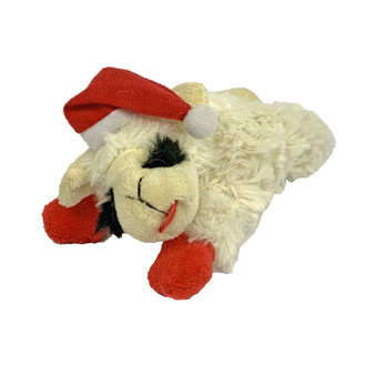 This 6 inch, plush Lamb Chop has a squeaker and is wearing a Santa Hat