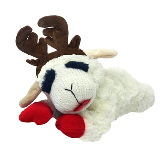 This 6 inch, plush Lamb Chop has a squeaker and has antlers
