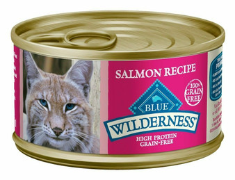 Blue Buffalo Wilderness High Protein Grain Free, Natural Adult Pate Wet Cat Food, Salmon