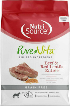Pure Vita Grain Free Beef & Red Lentils Dog 5#
