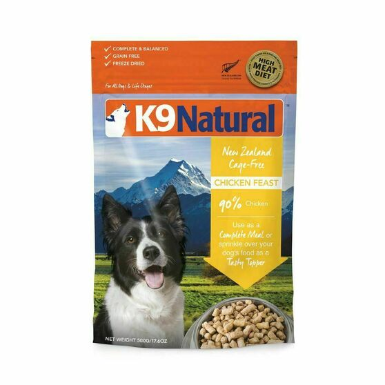 K9 Natural Chicken Feast Freeze Dried Dog Food 17.6 oz front view