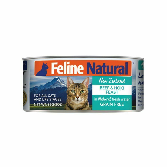 Feline Natural Beef and Hoki Feast Canned Cat Food 3 oz front view
