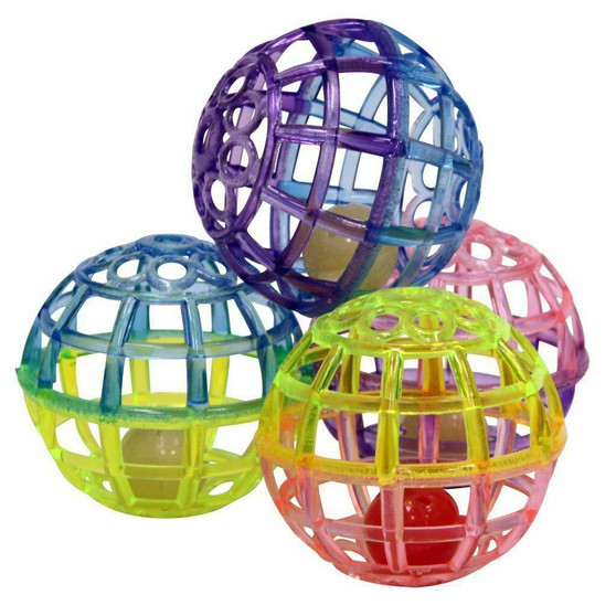 Group shot of multi-colored Lattice Balls for Cats