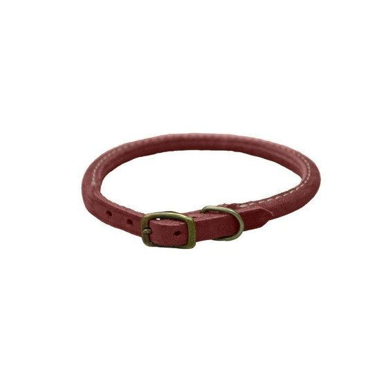 """Circle T® Rustic Leather Round Dog Collar, Brick Red, 3/8"""" x 12"""""""