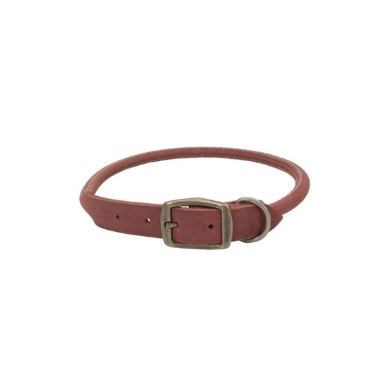 "Circle T® Rustic Leather Round Dog Collar, Brick Red, 3/4"" x 18"""