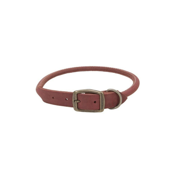 """Circle T® Rustic Leather Round Dog Collar, Brick Red, 1"""" x 22"""""""