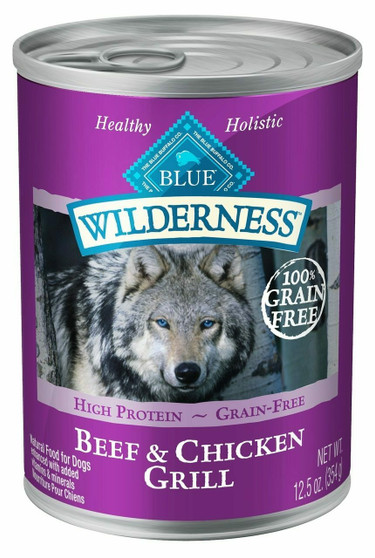 Blue Buffalo Wilderness High Protein Grain Free, Natural Adult Wet Dog Food, Beef & Chicken Grill 12.5-oz can