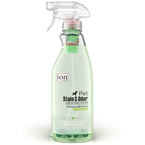 Our Pet Stain & Odor Destroyer in a 32 oz bottle with a Refill Pod.