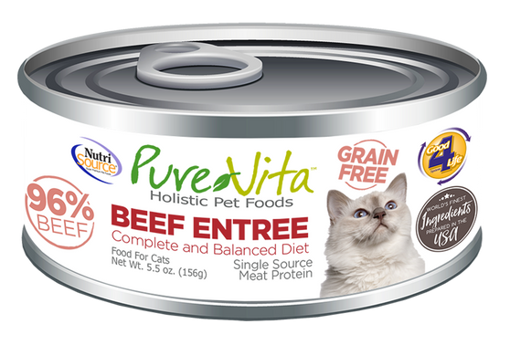Pure Vita Beef Entree Canned Cat Food 5.5oz