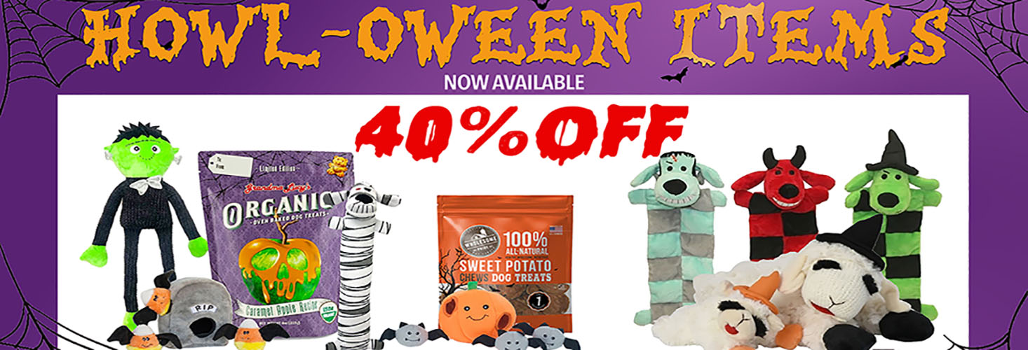 Happy Howl-oween. Check out our Hallowen specials tricks and treats! 40% Off