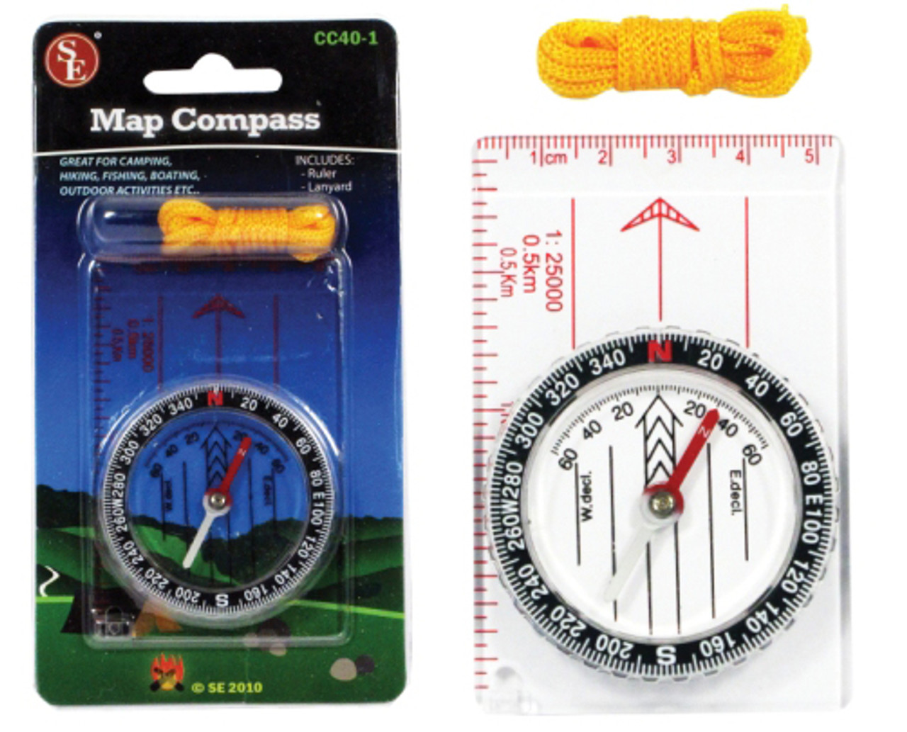 Map Compass w/Ruler and Lanyard