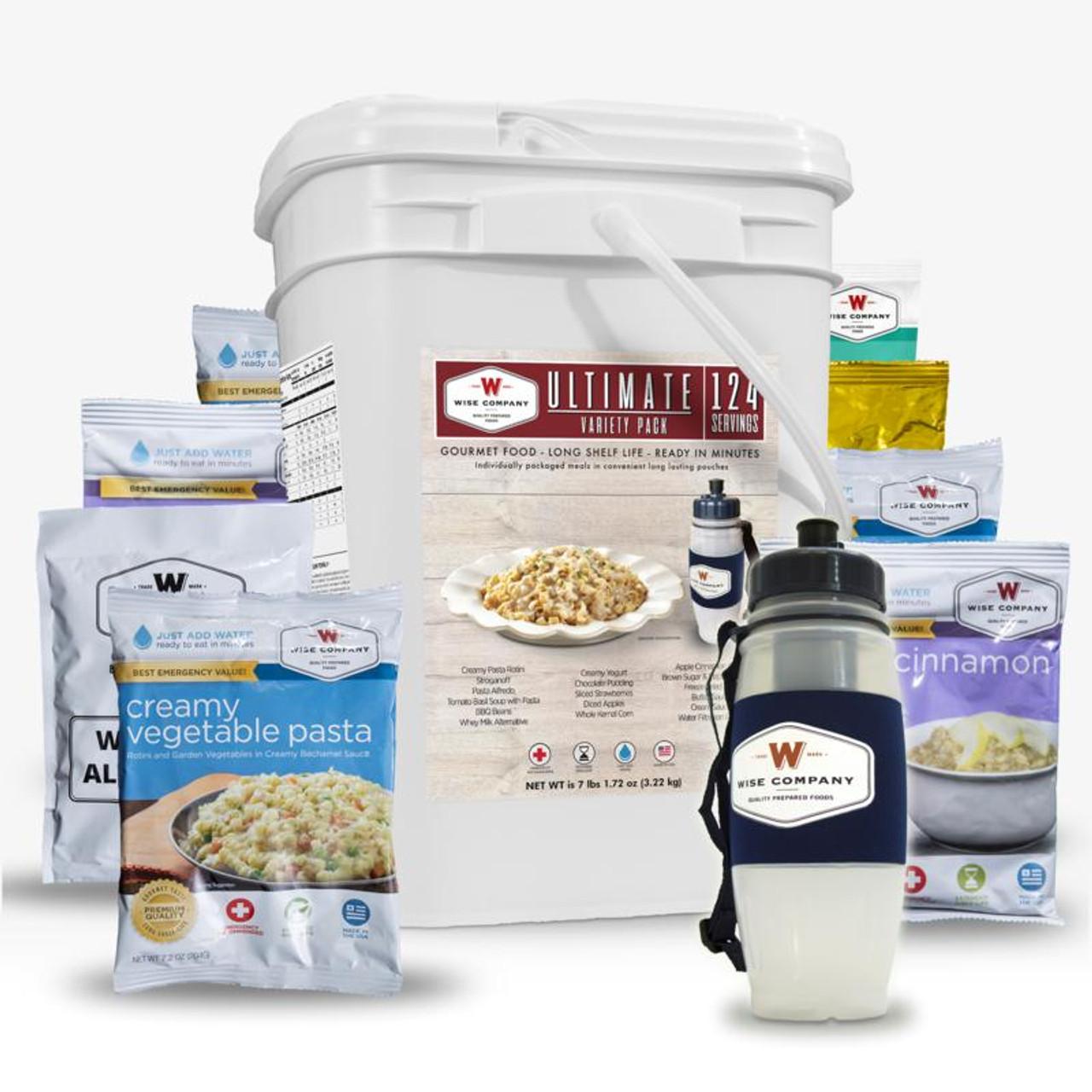 Wise 124 Serving Ultimate Emergency Food Bucket w/Seychelle Water Filter Bottle