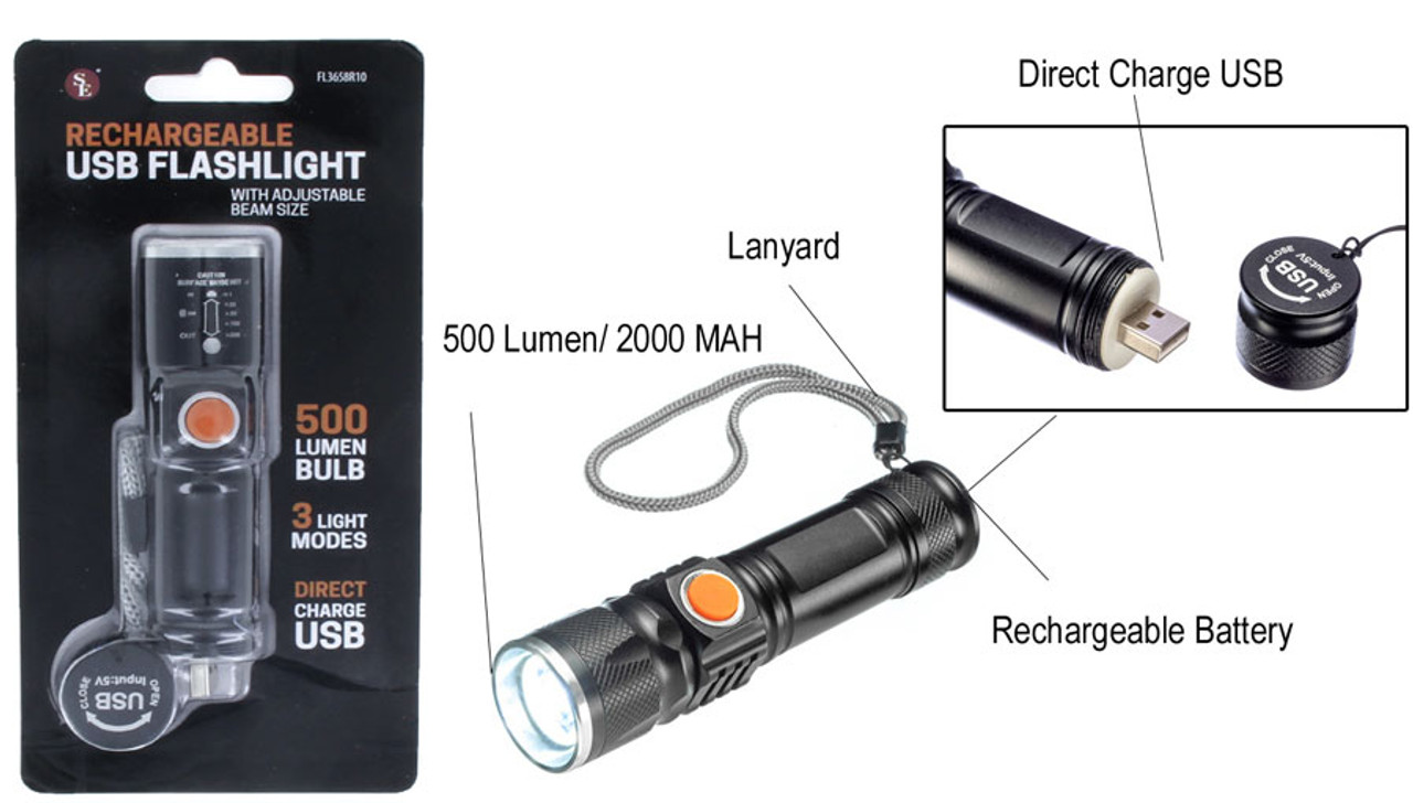 500 Lumen Adjustable Focus USB Rechargeable Direct Charge Flashlight