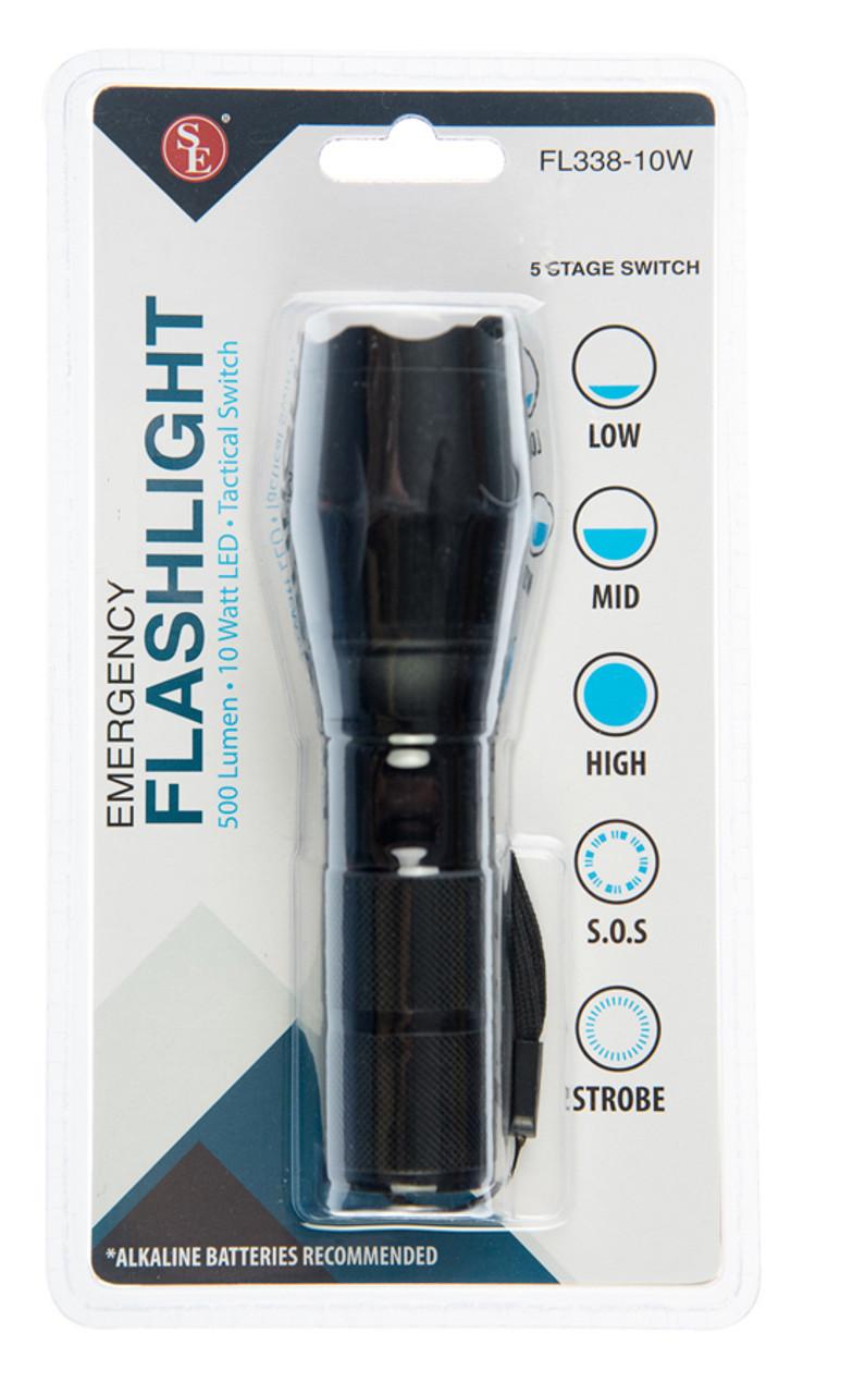 10 W LED/500 Lumen Adjustable Beam Black Flashlight W/Tactical Switch