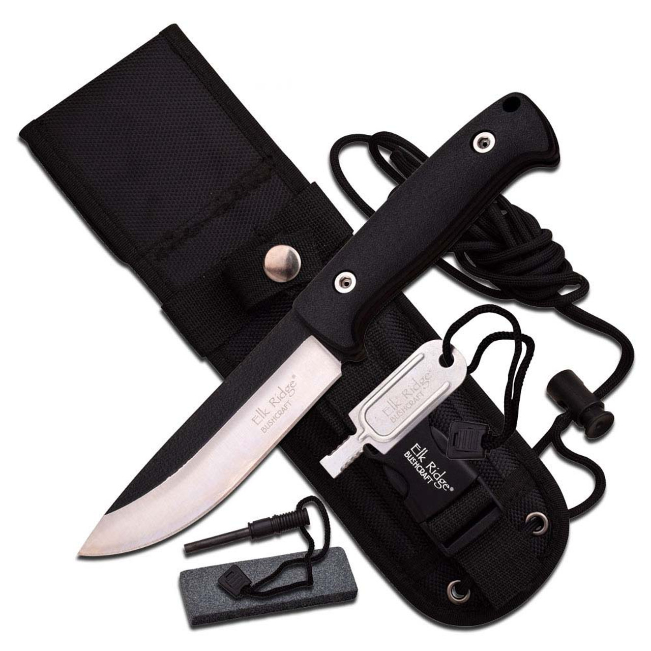 Bushcraft Survival Knife with Fire Starter Fixed Blade