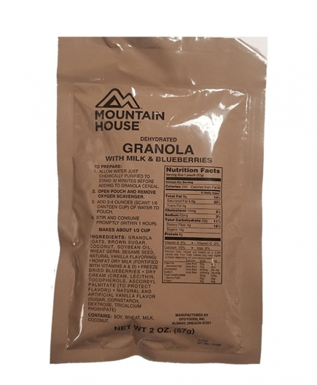 MILITARY Mountain House Granola w/ Blueberries & Milk Pouch