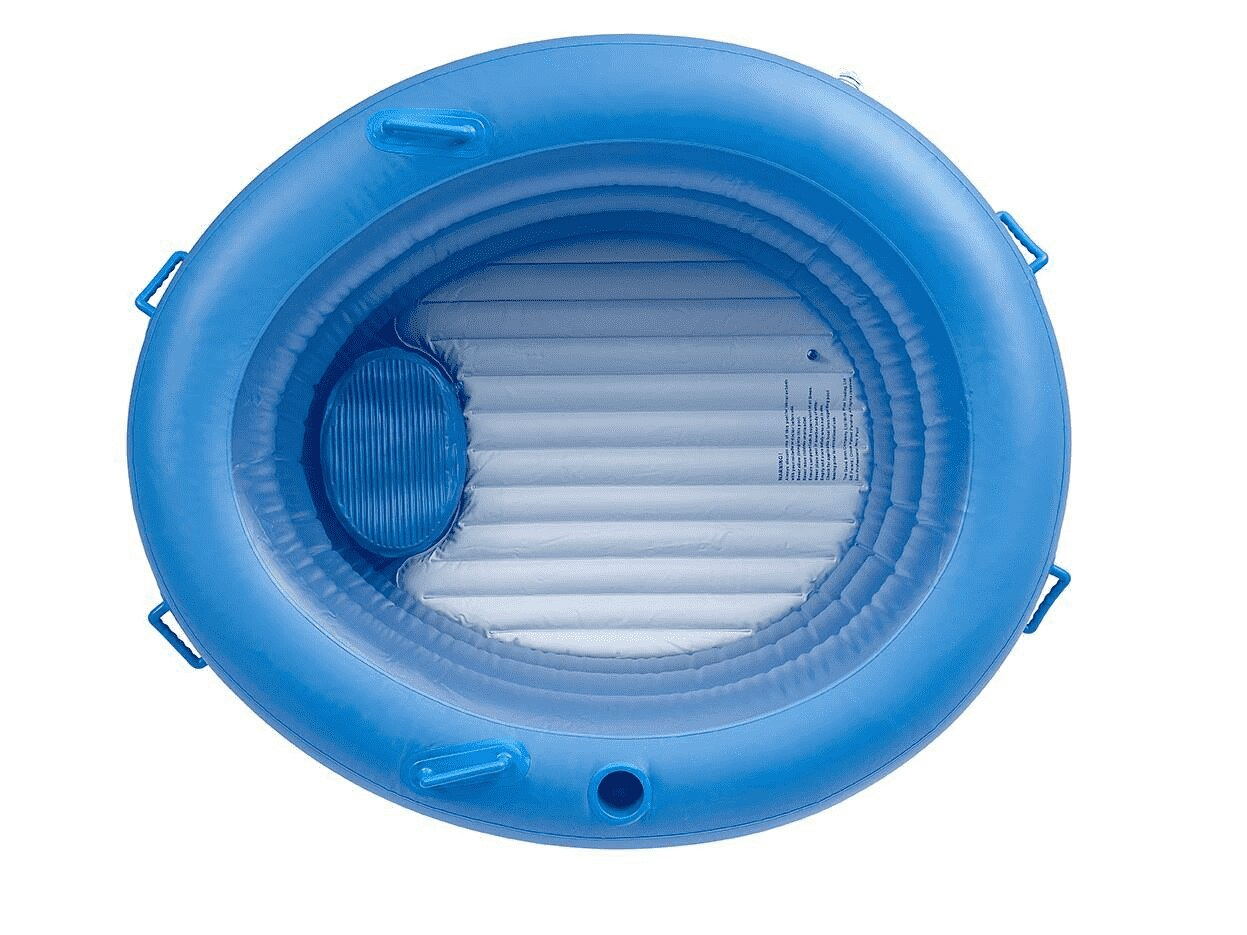 A blue circular birthing pool