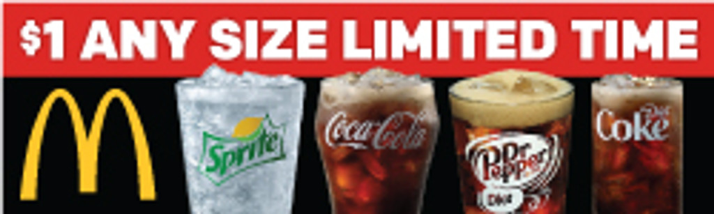 Custom $1 Any Size Drink 3'x10' Banner